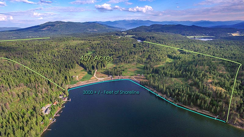 Camp Bay Estate on Lake Pend Oreille, 407 Acres and over 3000 feet of waterfront shoreline